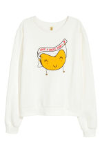 Printed sweatshirt - White - Ladies | H&M CN 2